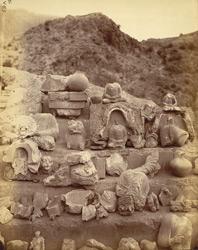 Sculpture fragments, mainly statues of Buddha, excavated at Ali Masjid.
